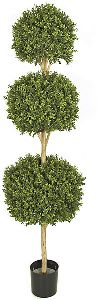 Artificial Topiary Trees, 	Outdoor Topiary, 6 and 5 feet Triple Boxwood Ball Topiary and Limited UV Protection< and p>